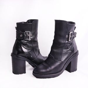 Leather Booties with Flame Detailings